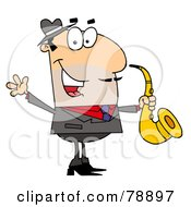 Caucasian Cartoon Saxophone Player Man by Hit Toon