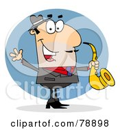 Royalty Free RF Clipart Illustration Of A Caucasian Cartoon Saxophonist Man