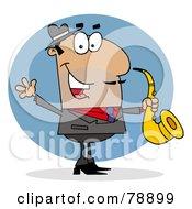 Royalty Free RF Clipart Illustration Of A Hispanic Cartoon Saxophonist Man