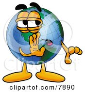 Clipart Picture Of A World Earth Globe Mascot Cartoon Character Whispering And Gossiping by Toons4Biz