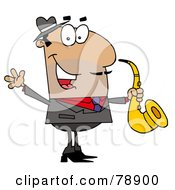 Royalty Free RF Clipart Illustration Of A Hispanic Cartoon Saxophone Player Man by Hit Toon