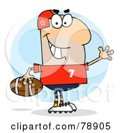 Royalty Free RF Clipart Illustration Of A Caucasian Cartoon Footballer Man by Hit Toon