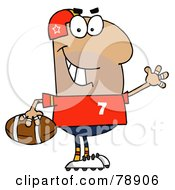 Royalty Free RF Clipart Illustration Of A Hispanic Cartoon Football Man by Hit Toon