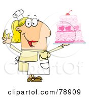 Royalty Free RF Clipart Illustration Of A Caucasian Cartoon Cake Baker Woman by Hit Toon