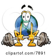 Clipart Picture Of A World Earth Globe Mascot Cartoon Character Lifting A Heavy Barbell