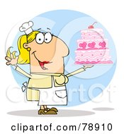 Royalty Free RF Clipart Illustration Of A Caucasian Cartoon Cake Maker Woman by Hit Toon
