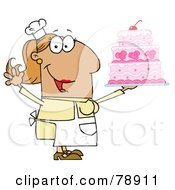 Royalty Free RF Clipart Illustration Of A Tan Cartoon Cake Baker Woman