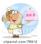 Royalty Free RF Clipart Illustration Of A Tan Cartoon Cake Maker Woman by Hit Toon