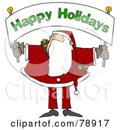 Royalty Free RF Clipart Illustration Of Santa Holding And Looking Up At A Happy Holidays Banner