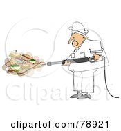 Royalty Free RF Clipart Illustration Of A Chef Spraying Sandwiches And Foods Out Of A Pressure Washer by Dennis Cox