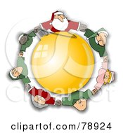 Santa Elves And Mrs Claus Holding Hands And Circling A Golden Ornament