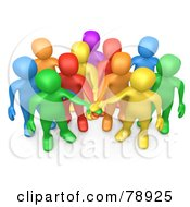 3d Group Of Diverse Colorful People Putting Their Hands In A Pile