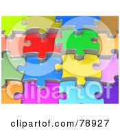 Royalty Free RF Clipart Illustration Of A Background Of 3d Colorful Shiny Layers Of Jigsaw Puzzle Pieces by 3poD