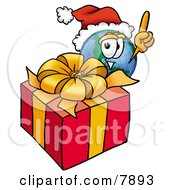 Clipart Picture Of A World Earth Globe Mascot Cartoon Character Standing By A Christmas Present by Toons4Biz