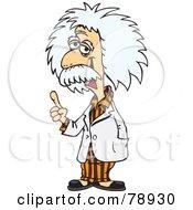 Albert Einstein Wearing A White Lab Coat Over His Orange Pajamas