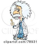 Albert Einstein Wearing Bunny Slippers And Blue Pajamas