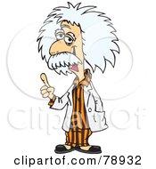 Albert Einstein Wearing Orange Pajamas