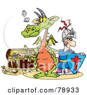Royalty Free RF Clipart Illustration Of A Knight And Dragon Standing In Front Of A Treasure Chest