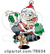 Royalty Free RF Clipart Illustration Of A Starving Santa Chasing A Gingerbread Cookie And Holding A Cup Of Milk
