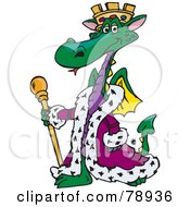 King Green Dragon Wearing A Purple Robe