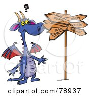 Purple Dragon Standing Confused At A Crossroads