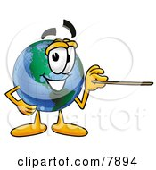 Clipart Picture Of A World Earth Globe Mascot Cartoon Character Holding A Pointer Stick by Toons4Biz