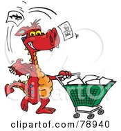 Royalty Free RF Clipart Illustration Of A Red Dragon Tossing Items In A Shopping Cart by Dennis Holmes Designs