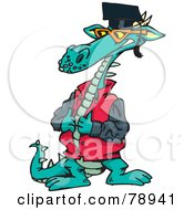 Cool Dragon Closing His Jacket And Wearing A Graduation Cap
