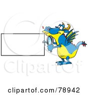 Royalty Free RF Clipart Illustration Of A Blue Dragon Holding A Magnifying Glass And Blank Sign