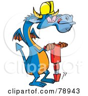 Blue Construction Worker Dragon Using A Jackhammer