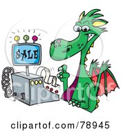 Royalty Free RF Clipart Illustration Of A Green Dragon Clerk Using A Cash Register