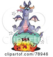 Purple Dragon Sitting On Top Of A Cracking Fiery Egg