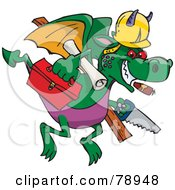 Royalty Free RF Clipart Illustration Of A Builder Dragon Flying With Tools