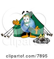 World Earth Globe Mascot Cartoon Character Camping With A Tent And Fire