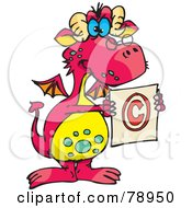Royalty Free RF Clipart Illustration Of A Pink Stern Dragon Holding A Copyright Symbol by Dennis Holmes Designs