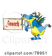 Royalty Free RF Clipart Illustration Of A Blue Dragon Holding A Magnifying Glass And Search Sign by Dennis Holmes Designs