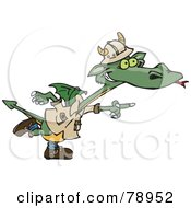 Royalty Free RF Clipart Illustration Of A Green Explorer Dragon Pointing To The Right by Dennis Holmes Designs