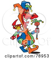 Colorful Jester Dragon Carrying A Staff