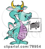 Turquoise Dragon Holding A Black Bull Picture