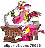 Royalty Free RF Clipart Illustration Of A Pink Designer Dragon Drawing At A Table by Dennis Holmes Designs