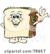 White Bread Sandwich Character Smiling And Waving