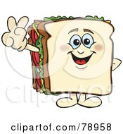 Royalty Free RF Clipart Illustration Of A White Bread Sandwich Character Gesturing Peace Or Victory by Dennis Holmes Designs