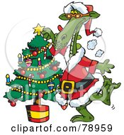 Royalty Free RF Clipart Illustration Of A Green Santa Dragon Decorating A Christmas Tree by Dennis Holmes Designs