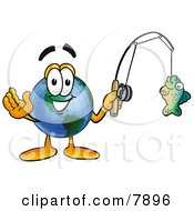 Clipart Picture Of A World Earth Globe Mascot Cartoon Character Holding A Fish On A Fishing Pole by Toons4Biz
