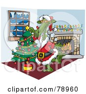 Royalty Free RF Clipart Illustration Of A Green Dragon Santa Decorating A Christmas Tree By A Fireplace by Dennis Holmes Designs