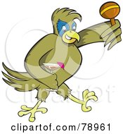 Green Party Parrot Carrying A Cocktail And A Maraca