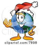Clipart Picture Of A World Earth Globe Mascot Cartoon Character Wearing A Santa Hat And Waving by Toons4Biz
