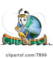 World Earth Globe Mascot Cartoon Character Rowing A Boat