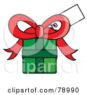 Royalty Free RF Clipart Illustration Of A Blank White Gift Tag On A Green Present With A Red Bow
