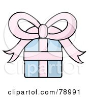 Royalty Free RF Clipart Illustration Of A Pastel Blue And Pink Birthday Christmas Or Anniversary Gift